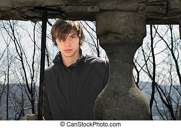 young man in the old pavilion