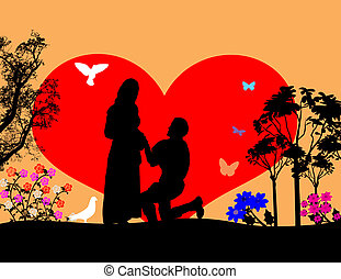 A young man  kneel and woo the girl silhouette