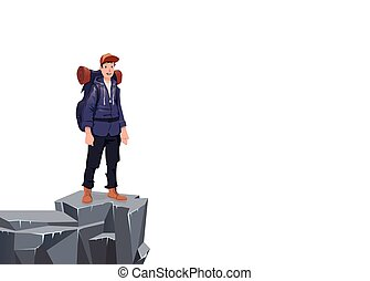 A young man on the edge of the cliff. Mountain hiker, Explorer, mountaineer. A symbol of success. Vector Illustration with copy space on white background.