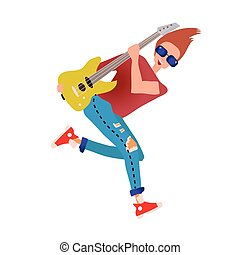 A young man playing the guitar. Rock musician. Vector illustration, isolated on white background.