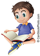 A young man reading - Illustration of a young man reading on...
