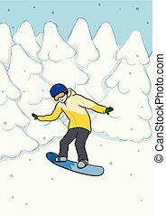 A young man riding a snowboard amongst the snow-covered trees. Snowboarding, extreme sport, active recreation. Vector Illustration.