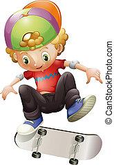 A young man skateboarding