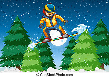 A young man snowboarding