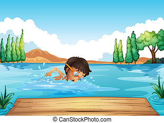 A young man swimming in the river
