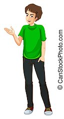 A Young Man wearing a green shirt illustration