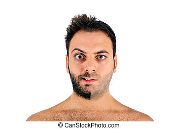 A young man with a beard on half of the face on white...