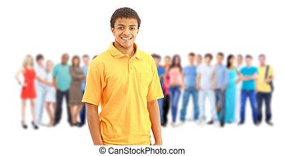 a young man with big group of the young smiling students. Over white background