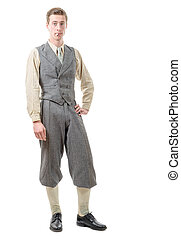 young man with clothes in 20s style.