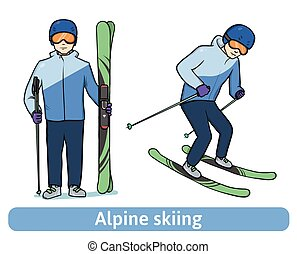 A young man with mountain ski, standing and in motion. Alpine skiing, extreme winter sport, active recreation. Vector Illustration, isolated on white.
