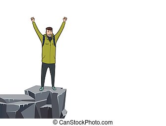 A young man with raised hands on the edge of the cliff. Mountain hiker, Explorer, mountaineer. A symbol of success. Vector Illustration with copy space on white background.