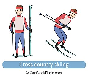 A young man with ski. Skier standing and running. Cross country skiing, winter sport, active recreation. Vector Illustration, isolated on white.