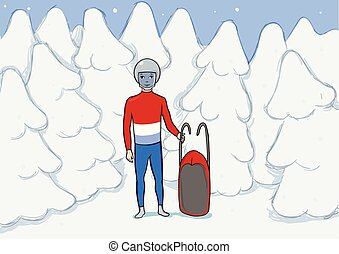 A young man with sleigh standing among the snowy winter forest. Snowboarding, extreme sport, active recreation. Vector Illustration.