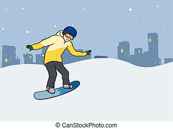 A young man with snowboard in motion. Snowboarding, extreme winter sport, active recreation. Vector Illustration, isolated on white.