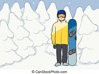 A young man with snowboard standing among the snowy winter forest. Snowboarding, extreme sport, active recreation. Vector Illustration.