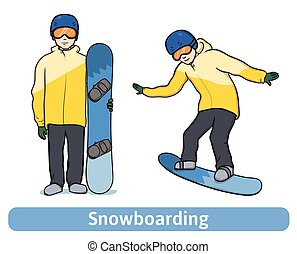 A young man with snowboard, standing and in motion. Snowboarding, extreme winter sport, active recreation. Vector Illustration, isolated on white.