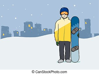 A young man with snowboard standing on evening city background. Snowboarding, extreme sport, active recreation. Vector illustration.