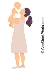 Motherhood and a happy family. A young mother in a pink dress with a newborn baby in her arms. Vector illustration