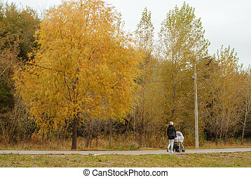 A young mother in Park with baby in the stroller,