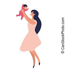 A young mother stands and plays with her child in her arms. Happy mom laughs and plays with her daughter or son. Flat vector cartoon illustration for design.