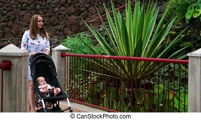 A young mother walks with a baby in a wheelchair in the Park with palm trees and a waterfall, a happy family on a journey.