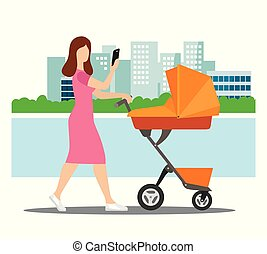 a young mother walks with a stroller around the city