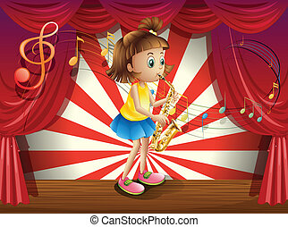 A young musician at the stage