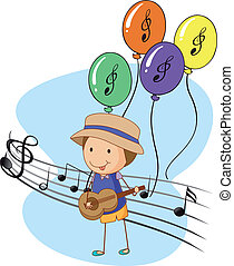 A young musician with balloons at the back - Illustration of...