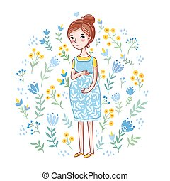 Future mother on a white background.