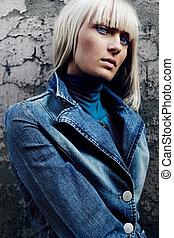 a young scandinavian girl with long blond hair