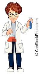 A Young Scientist on White Background