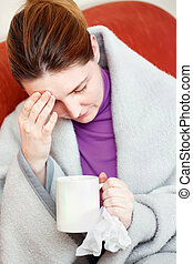 sick woman having headache