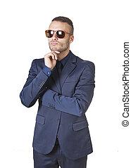 thinking elegant businessman