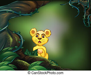 A young tiger near the big tree - Illustration of a young...