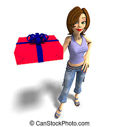 a young toon girl hands a gift over to you