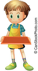 A young waiter holding an empty tray