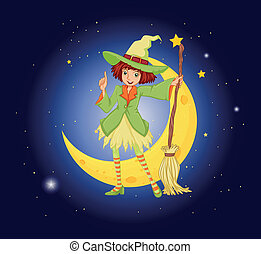 A young witch near the moon