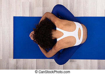Woman Doing Relaxation Exercise - A Young Woman Doing ...