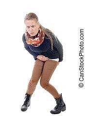 a young woman has diarrhea
