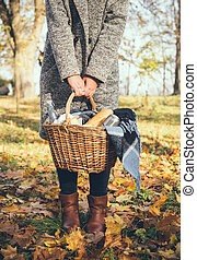 woman holding a basket