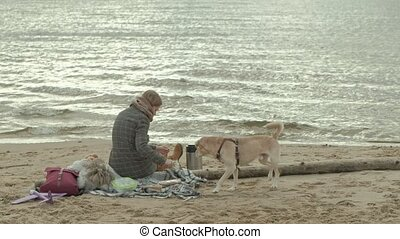 a young woman in a coat sits on the beach by the river, ocean, has a picnic, a brown dog is playing nearby, cold weather