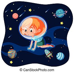 A young woman in space