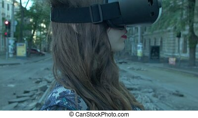 A young woman in VR glasses escapes from her terrible...
