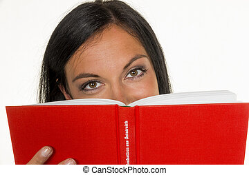 woman is reading a book