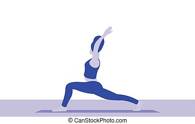 A young woman is standing on legs in a warrior pose Virabhadrasana asana