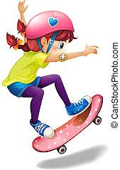 A young woman skating