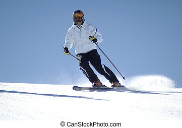 a young woman skiing