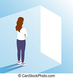 A young woman stands in front of the door of new opportunities.