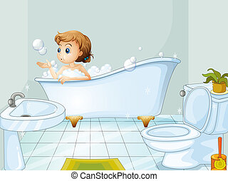 A young woman taking a bath in the bathtub - Illustration of...