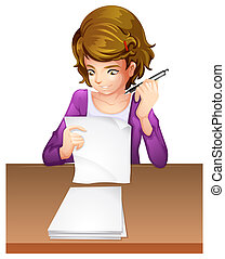 Illustration of a young woman taking an exam on a white background